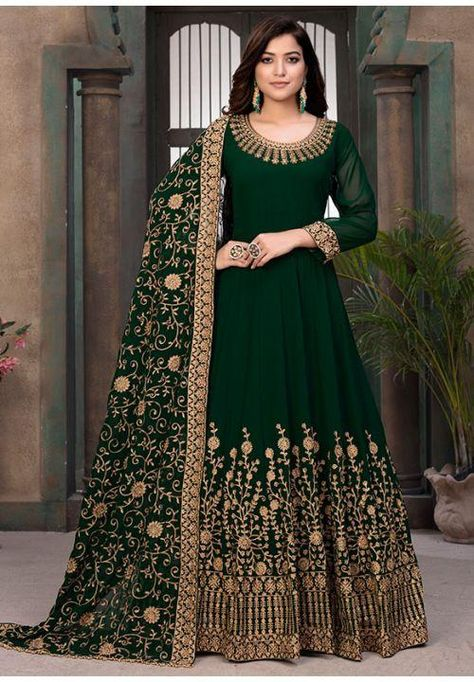 Green Party Anarkali Suit In Georgette SFDFS15601 Heavy Georgette Fabric Anarkali suit can be fully stitched to your size from Xsmall to 2XLarge. This suit comes with Top, Bottom and Dupatta. 100% Original Fabric: Semi-Georgettet, Botton: Santon, Dupatta: Georgette Work - Heavy embroidery Bust Size up to : 32-42, Size: (XSmall - 2XL). For custom Stitched item the measurement form will be sent to your email. Any parts of your body can be covered. Pettite, Nursing, Mother And Daughter Customised F