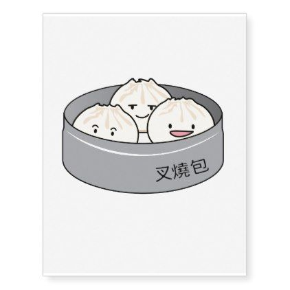 Pork Bun Dim Sum Chinese Breakfast Steamed Bbq Bun Temporary Tattoos Zazzle Com Pork Buns Bbq Bun Dim Sum