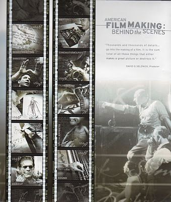 P22 Cezanne font used for all of the script lettering seen floating in these photo collages on American Filmmaking Stamps for US Postal service
