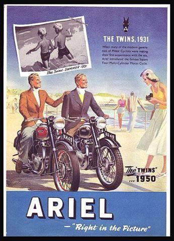Ariel 1950 Vintage Motorcycle Posters Bike Poster Motorcycle Artwork