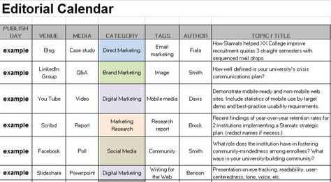 Sample Editorial Calendar #dwcsm #dwc2k14 #DWCSM Pinterest - social media calendar template