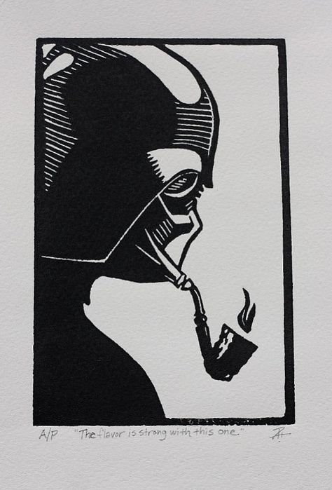 Darth Vader smoking a pipe.