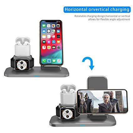 Simpfun Chargeur Sans Fil W01 Station De Charge Rapide Wireless Qi Pour Apple Watch 4 3 2 1 Airpods Iphone Xs Xr X 8 8 Mobile Phone Stands Phone Mobile Phone