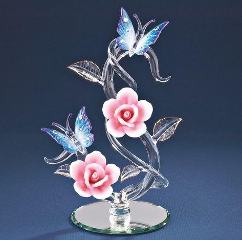 """Hand Blown Glass Bird Bath Figurine /""""Birdie Splash/"""" Miniature"""