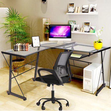 Computer Desk L Shaped Desk Glass Office Writing Furniture With Keyboard Tray Walmart Com Home Computer Desk Desk