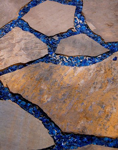 flagstone with recycled glass walkway by echkbet (Flagstone Patio Step) Pebble Mosaic, Mosaic Art, Mosaic Garden Art, Tile Mosaics, Mosaic Mirrors, Glass Walkway, Mosaic Walkway, Recycled Glass, Recycled Bottles