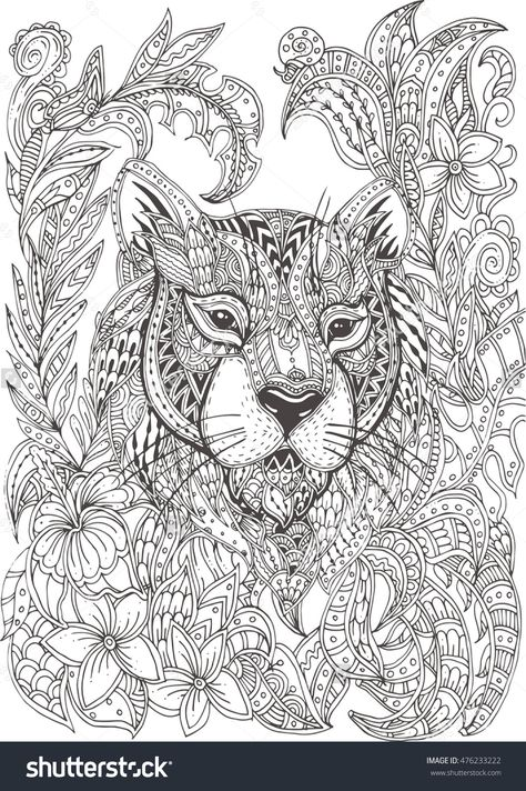 Hand-drawn tiger with ethnic floral doodle pattern. Coloring ...