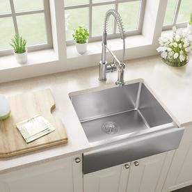 Mr Direct Farmhouse Apron Front 23 75 In X 20 In Stainless Steel Single Bowl Kitchen Sink Lowes Com Apron Front Kitchen Sink Mr Direct Stainless Steel Kitchen Sink