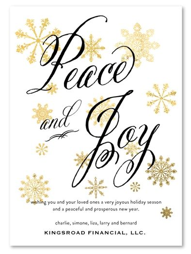 Corporate Holiday Cards Golden Peace By Green Business Print