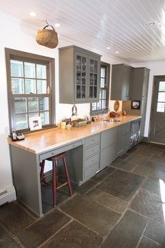 Butcher Block Counter Kitchen Im More Interested In The Stone - Kitchen flooring with grey cabinets