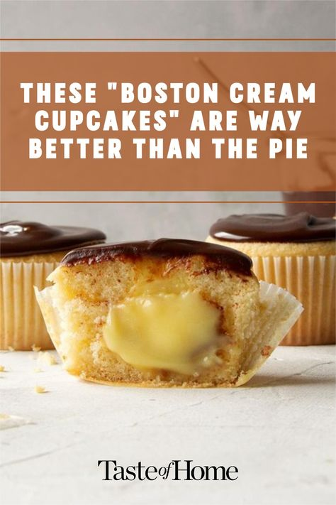 Boston cream cupcakes have been my favorite bakery treat since I was a child, so I put together this easy-to-make version. —Jeanne Holt, Mendota Heights, Minnesota