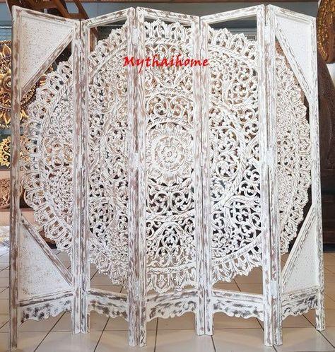 Blanc Grand Mur Art King Bed Tête de Lit Tête de Lit Bohème Diviseur Écran Fleur Mandala En Bois Main A Craved En Teck Bois 5 Panneau Décor À La Maison Thai Art