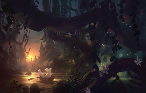 Wallpaper forest, river, boat, tuomas korpi, moomin images