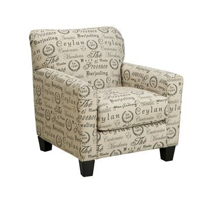 Aleyna Script Accent Chair Patterned Chair Ashley Furniture Industries Club Chairs