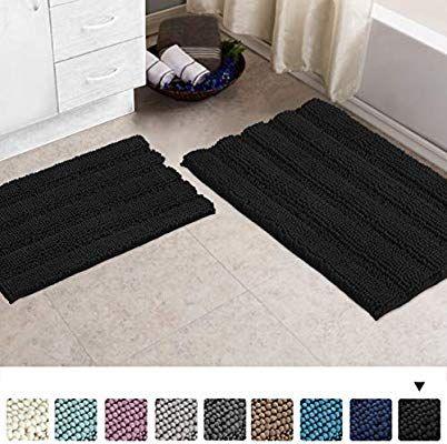 Amazon Com Turquoize Non Slip Shaggy Bathroom Rugs Black Bath Rugs For Bathroom Chenille Bath Rugs For Bathroo Black Bath Rug Bathroom Rugs Chenille Bath Rugs