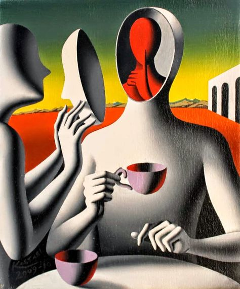 Painting by Mark Kostabi, 1960 ~ Pop Symbolism painter Arte Pop, Art And Illustration, Mark Kostabi, Symbolic Art, Posca Art, Surrealism Painting, Wow Art, Art Graphique, Fine Art