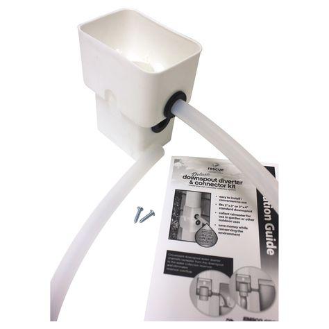 Rescue Rectangular Dual Diverter Kit White Emsco Rain Barrel Downspout Painting Gutters