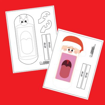 picture regarding Printable Christmas Crafts referred to as Printable Xmas Puppets Xmas Craft / Santa, Rudolph