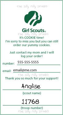 Door tags that you can leave at neighbors homes if they are not home when you stop by to sell cookies.