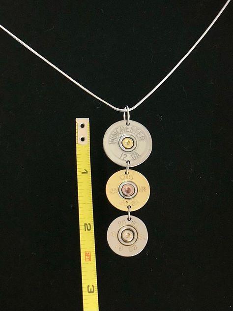 3 shotgun shell pendant necklace 12 gauge 20 gauge 28 gauge | Etsy
