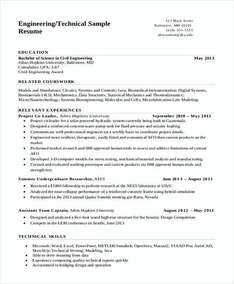 Technical Engineering Resume , Software Engineering Manager Resume - pump repair sample resume