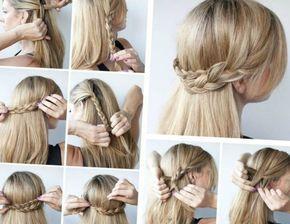 Schnelle Und Einfache Frisuren Halboffene Idee Aus Flechtzopfen Haare Hochsteckfrisur Selber Mache Haarband Frisur Haarband Frisur Anleitung Frisuren Halboffen