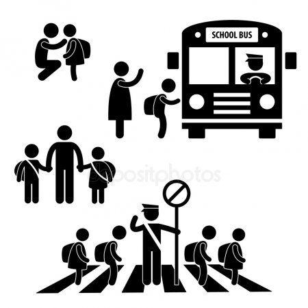 Student Pupil Children Back To School Bus Crossing Road Traffic Police Icon Symb Aff School Bus Children Student Ad Piktogram Vektor