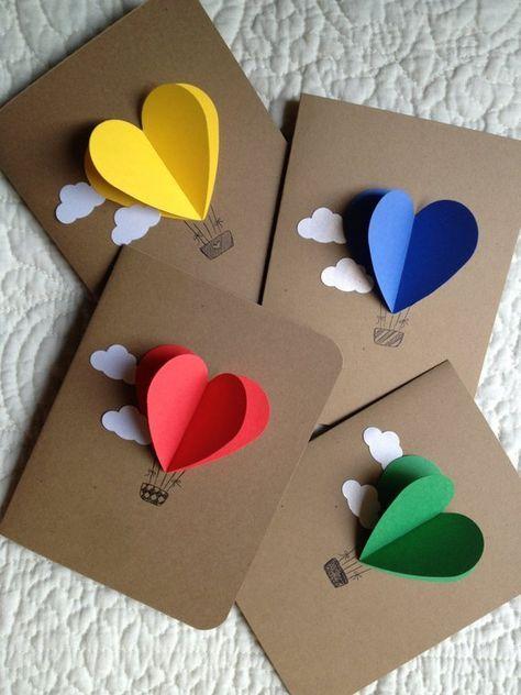 Heart Hot Air Balloon Cards- set of 4