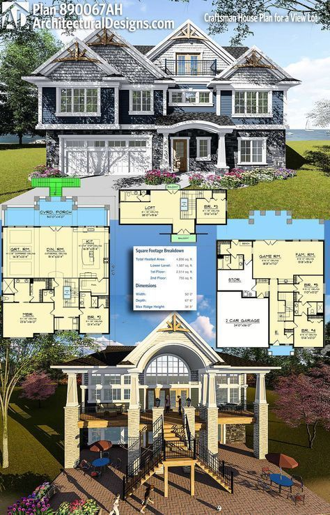 Lovely Craftsman House Plans For View Lots 4 Pattern In 2021 Craftsman House Plans Craftsman House House Plans