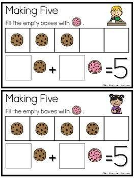 FREE Kindergarten Math Center Making Five | Kindergarten ...