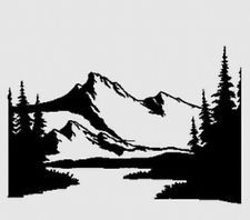 Mountain Silhouette mountain #13 scenery decal rv camper graphic landscape | tattoo