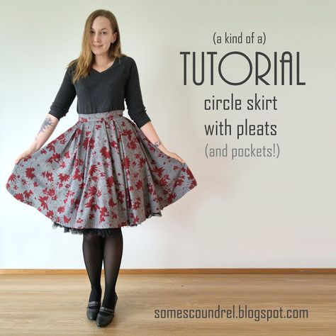 Sewing Skirts Sew Scoundrel: A circle skirt that's also pleated (a kind of a tutorial) Pleated Skirt Pattern, Circle Skirt Pattern, Skirt Pattern Free, Crochet Skirt Pattern, Skirt Patterns Sewing, Clothing Patterns, Circle Skirt Tutorial, Diy Circle Skirt, Crochet Skirts