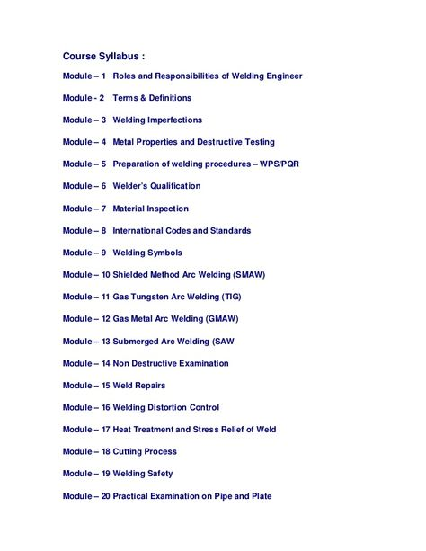 Welding inspector course provides a systematic development of - aluminum welder sample resume