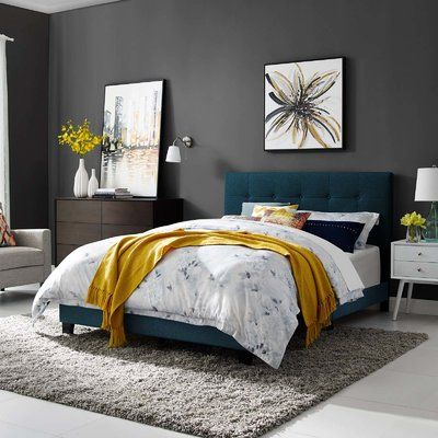 Modway Amira Mid-Century Modern Upholstered Fabric Tufted Queen Bed Frame With Headboard In Azure Blue Bedroom, Bedroom Decor, Bedroom Ideas, Bedroom Designs, Kids Bedroom, Single Bedroom, Bedroom Storage, Calm Colors For Bedroom, Colors For Bedrooms