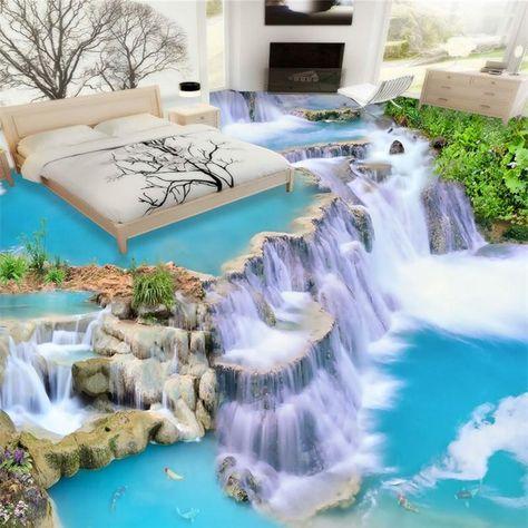 beibehang Water Modern bathroom Custom 3D floor mural non-slip waterproof thickened self-adhesive PVC wallpaper papel contact