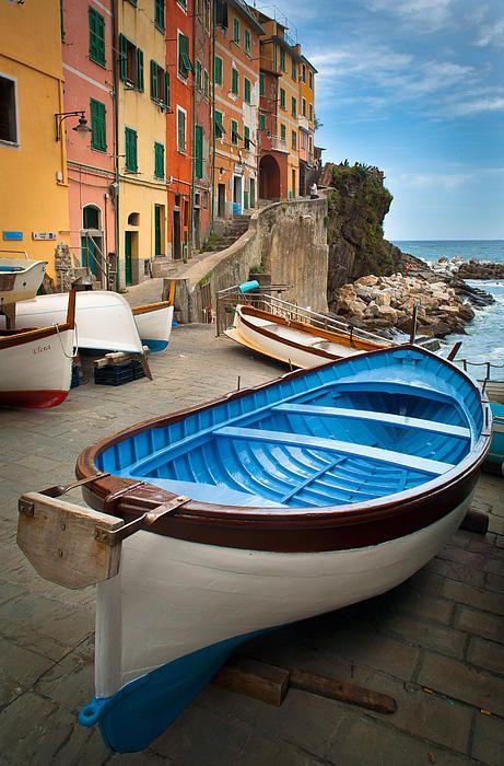 Boats in Riomaggiore, Cinque Terre, Italy