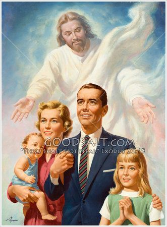 A happy family of four with Christ behold them in loving support. Vintage painting.