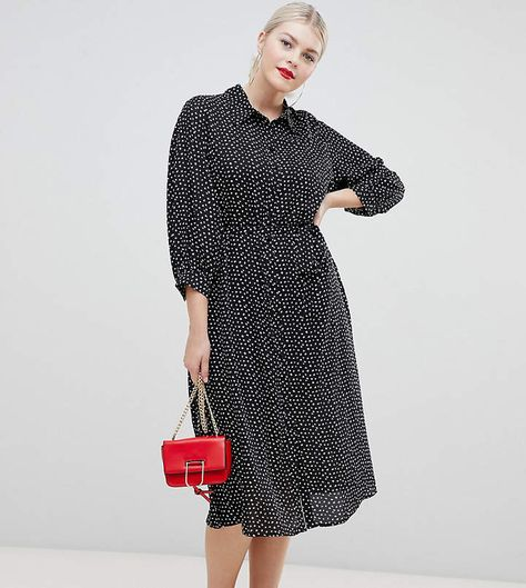 9ff5e0776ec Fashion Union Plus midi shirt dress in smudge spot