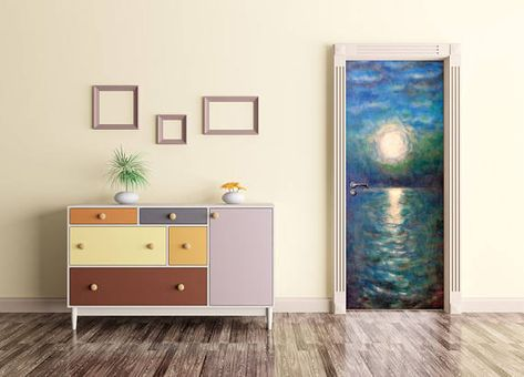 Watercolor Door Mural Moonlit Door Wrap Peel And Stick Door