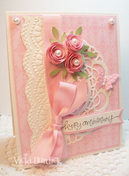 SU Soft Subtles DSP, Doily die, Delicate Design E F, Large Scallop edgelit, rolled roses using 1-3/4 inch circle punch