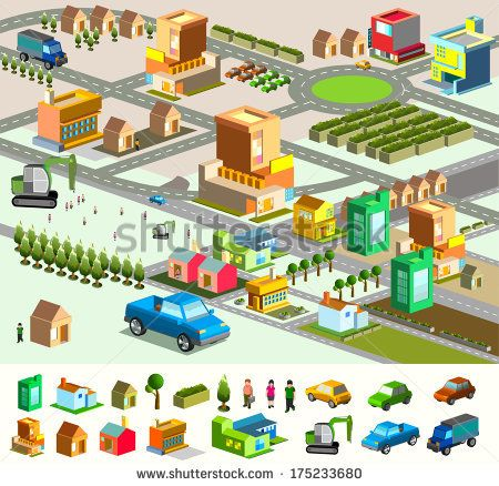 city isometric  include building  vehicle  plan  people  vector custom map    stock vector     ILLUSTRAT N geo  line  shape   Pinterest   Low poly. city isometric  include building  vehicle  plan  people  vector