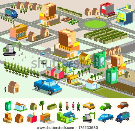 city isometric  include building  vehicle  plan  people  vector custom map    stock vector     ILLUSTRAT N geo  line  shape   Pinterest   Low poly. city isometric  include building  vehicle  plan  people  vector