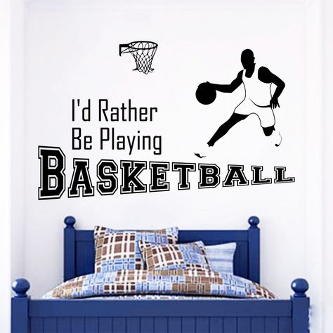 I/'d Rather be Playing Basketball Vinyl Wall Decal Sticker Home Decor Sports
