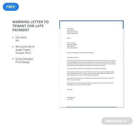 Warning Letter Template To Tenant For Late Payment Free Pdf Word Doc Apple Mac Pages Google Docs Letter Template Word Application Letter Template Reference Letter Template