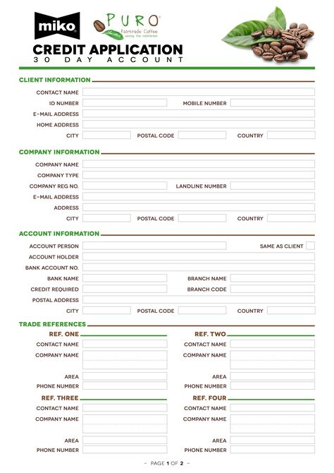 Credit Application Form for Miko Africa Front page #KickAssCoffee - bank account forms