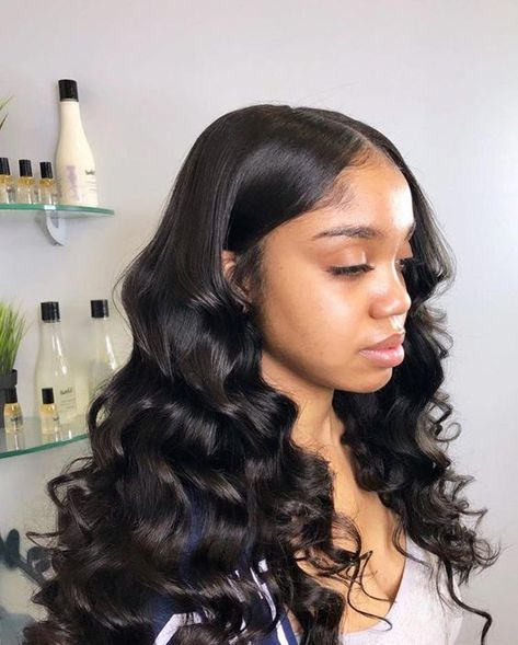 Loose wave hair sew in. It is lovely. Loose wave hair sew in. It is lovely. Loose wave hair sew in. It is lovely. Baddie Hairstyles, My Hairstyle, Loose Hairstyles, Black Hairstyles, Curly Weave Hairstyles, Loose Waves Hair, Wavy Hair, Loose Wave Weave, Loose Curly Weave