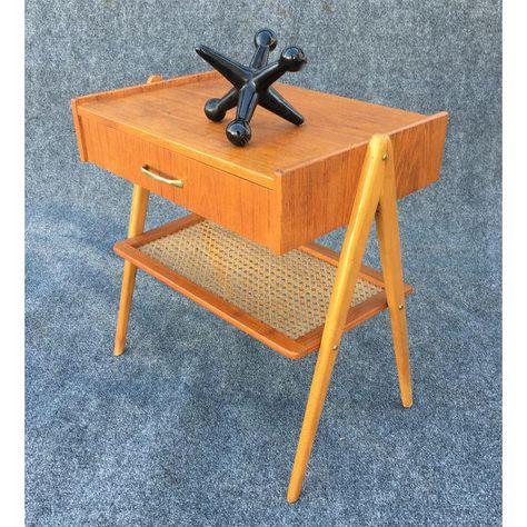 e7b5e68a9139a Vintage Danish Mid Century Modern Teak   Oak Side Table — Aymerick Modern
