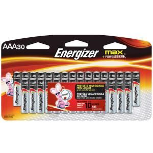 Energizer Max Aaa Batteries 30 Pack Triple A Alkaline Batteries E92sbp30h The Home Depot Energizer Battery Energizer Alkaline Battery