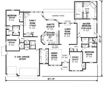 Traditional Style House Plan 4 Beds 3 5 Baths 3520 Sq Ft Plan 65 155 House Layouts House Blueprints House Plans