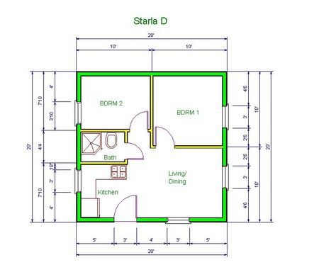 20 X20 Apt Floor Plan Starla Model D Floor Plan 20 X 20 Tiny House Floor Plans How To Plan House Plans